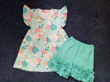 2017 Fashion Boutique Baby Summer Outfits Wholesale kids FlowerPrinted Peals Ruffle Shorts Outfit