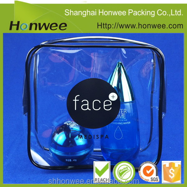 insert line clear plastic PVC bag packaging for cosmetic kits