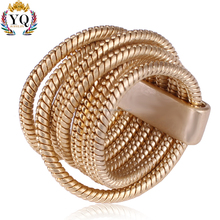 xRLX-00208 wholesale dubai gold ring designs sex multi row coil wrap ring brass wire string clasp wire ring gold plated