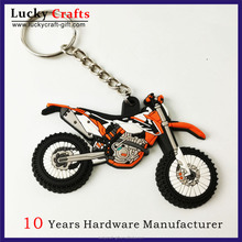 Design your own promotional 3D soft pvc rubber motorcycle keyrings