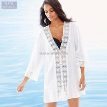 Chiffon dresses Women Shawl Cardigan Boho Floral Embroidered Loose Sexy V-Neck Beige Black long sleeve cover up beach dress
