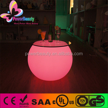 Illuminated night club changing color LED bar table