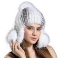 CX-C-165C Natural Color Genuine Cross Mink Fur Funny Knitted Hat