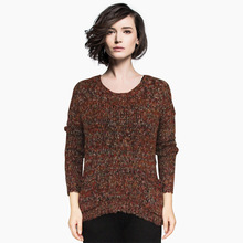 Women's Trendy Knitted Sweater Thick Crew Neck Knit Pullover Knitwear Sweater