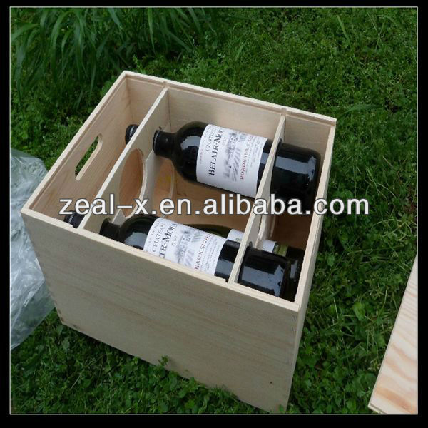 Double Wine Bottle Storage Custom Size Old Wooden Wine Gift Boxes For Sale