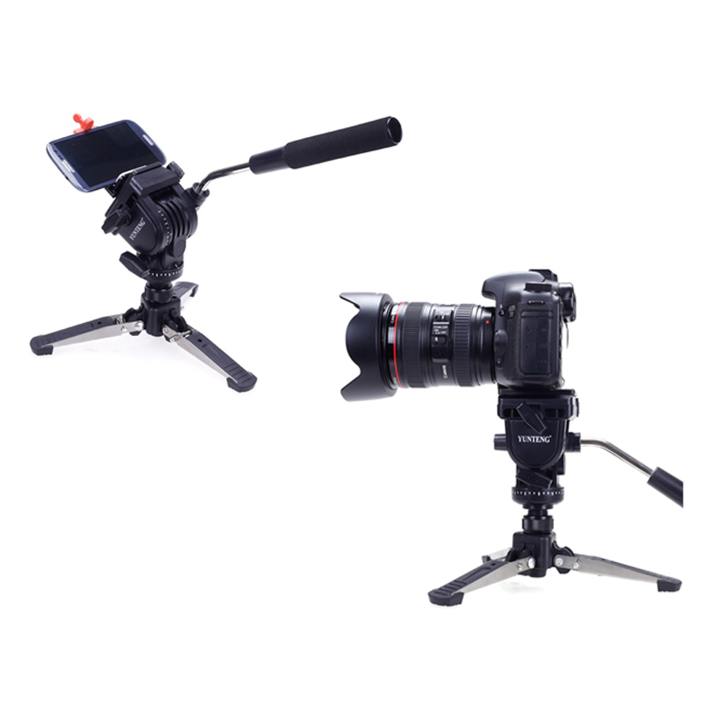 High Quality Yunteng VCT-288 Aluminum Alloy Photography Tripod Monopod + Fluid Pan Head + Unipod Holder for Canon Nikon Camera