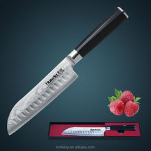 "Huiwill brand 7"" Japanese VG10 Damascus carbon stainless steel kitchen santoku chef knife with forged G10 handle kitchen tools"