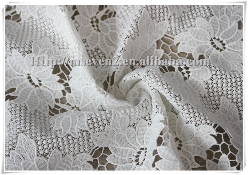 Customized embroidery special polyester optical white embroidery fabric