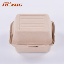 Environment-Friendly yellow wheat straw fiber 450ml paper pulp hamburger package box container