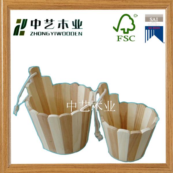 hanging pine wood wooden bucket for egg storage