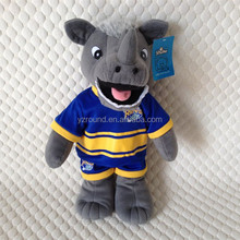 Stuffed toy plush Rhino with t-shirt and short printed toy