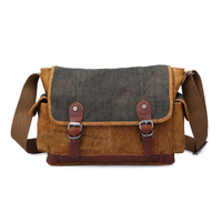 High quality leather canvas fabric multifunctional Men camera Messenger shoulder bags