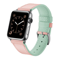 Unique Pink Green Dual Color Genuine Leather Strap for Apple Watch 3