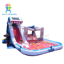 Free banner and blower PVC material indoor Kids inflatable shark air jumping castle with slide and pool for sale in Guangzhou