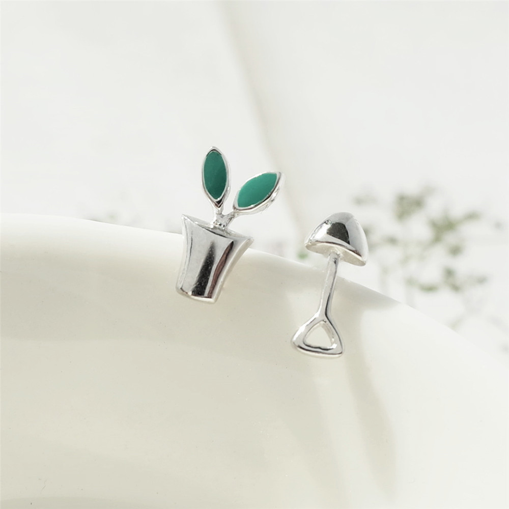 MYLOVE FREE SHIPPING Japanese style potted plant 925 sterling silver earring jewelry