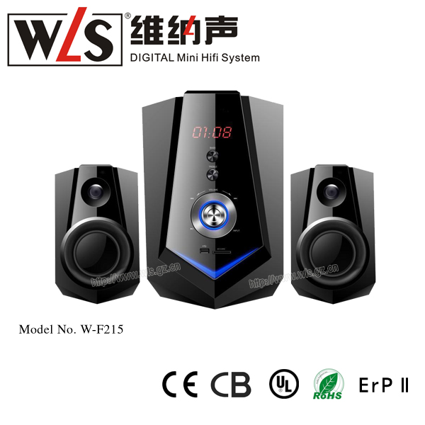 2017 New model W- F 215 Bluetooth Digital Music System with wooden speaker
