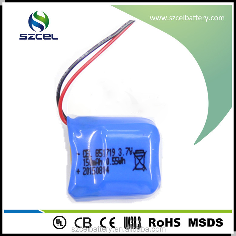 CE UL standard Lithium polymer LiCoO2 batteries 3.7V 851719 150mAh rechargeable battery