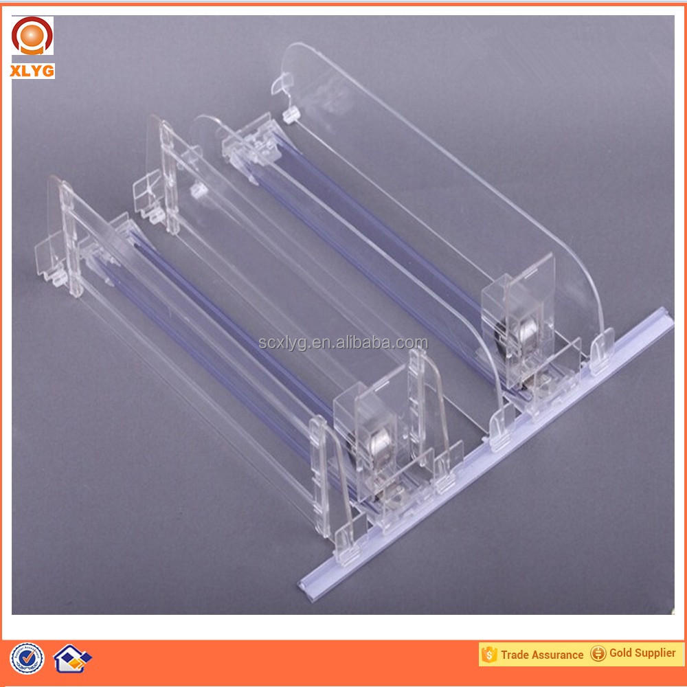 Width adjustable shelf clear spring loaded pusher and divider for wooden book shelf