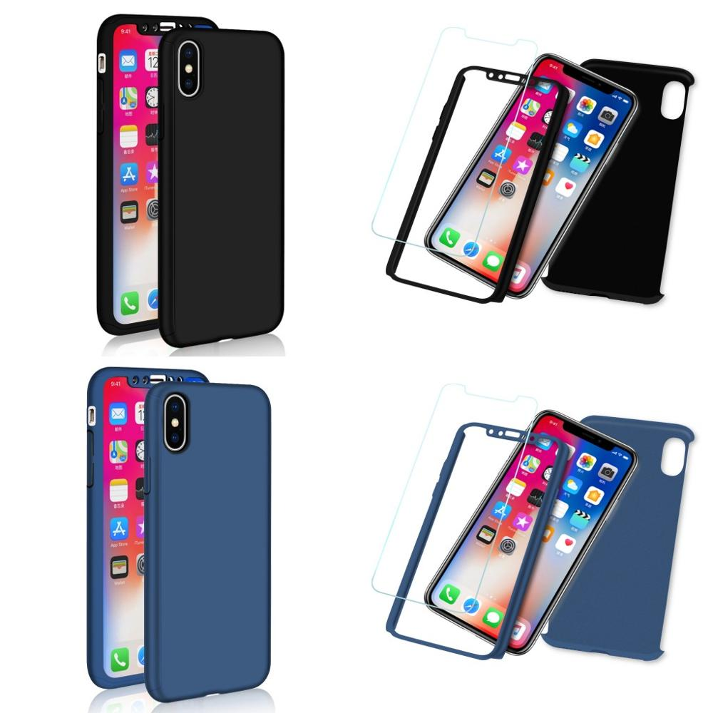 Full Body Protective 2 in 1 Case For Apple iPhoneX Front Back 360 Case with original glass For iPhone X Phone Case