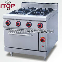 stainless steel 4 burner gas cooker with oven