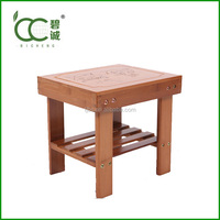 bamboo kid chair with cute pattern and shoe rack