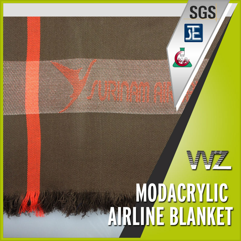 Modacrylic airline blanket with jacquard logo special design with fringe woven throw blanket
