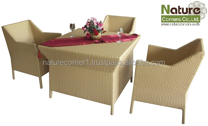 Thailand Handmade Outdoor Garden Rattan Wicker Dining Furniture