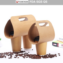 Rigid cardboard paper coffee cup holder with handle
