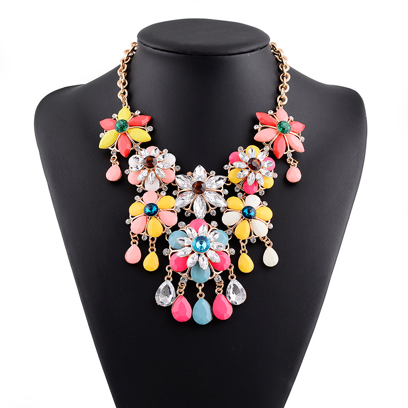 2016 Collier Femme Multi Color Crystal Flower Statement Necklace