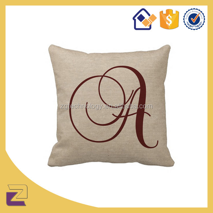Beautiful Fashional A Letters Alphabet Design for Plain Canvas Pillow Covers Cotton Linen Cushion Cover