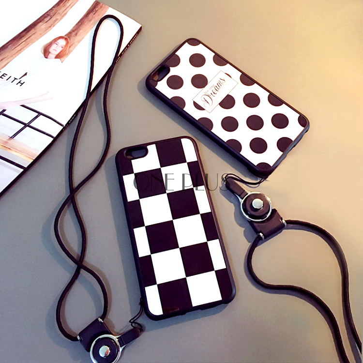 Dots And Grid Phone Case For Iphone 5 Iphone 6 TPU+PC+Plastic Phone Case For Lovers With Hanging Rope