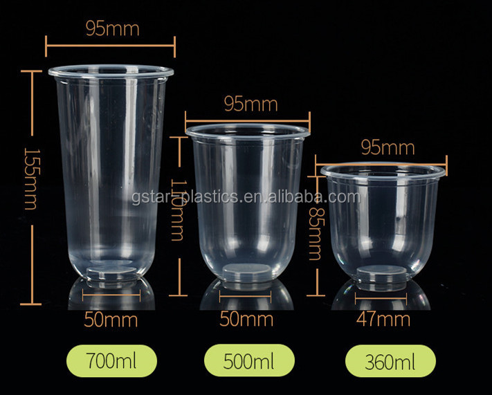 12oz 14oz 16oz 20oz  24oz Clear  Disposable Plastic Smoothie PET Cups with Lids Covers and Straws U Shape PET Cup Fla Bottom