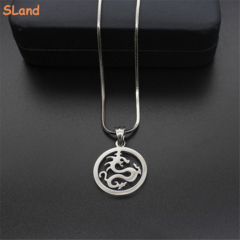 SLand Jewelry factory price wholesale high quality shiny polished stainless steel round dragon necklace pendant for Men gift