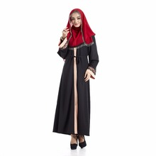 Newest Muslim Long Sleeve Black Loose Embroidery Women Abaya With Belt