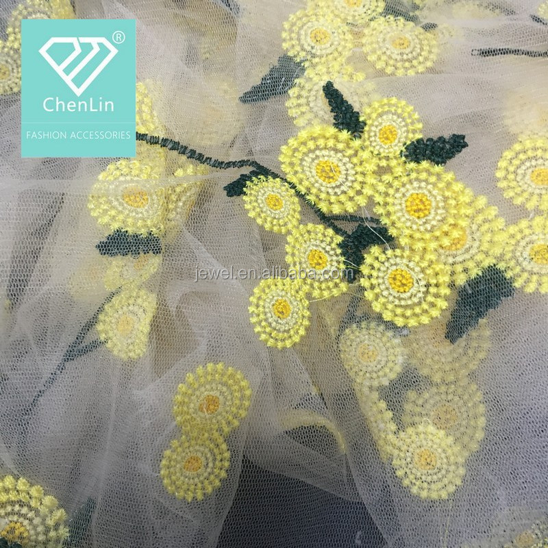 Chiffon Mesh Flower Embroidery Fabrics For Women Clothes Making