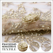 Oem service wholesale knitted embroidery hand beaded lace fabric