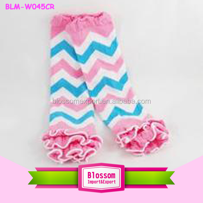 2017 Wholesale green stripe chiffon trim ruffled baby leg warmers tutu leggings Infants Knitted Christmas girl ruffle leg Warmer