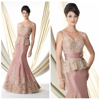 new model pink prom satin beaded lace mother of the bride dress