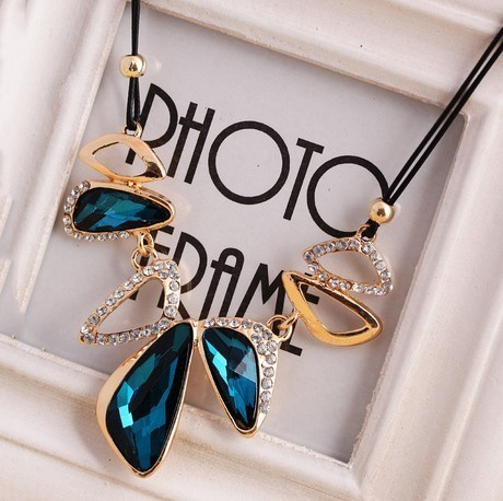 5 Colors New Statement Choker Vintage Charms Geometric Women Collar Rhinestone Crystal Gem Necklaces&Pendants Fine Jewelry  A469