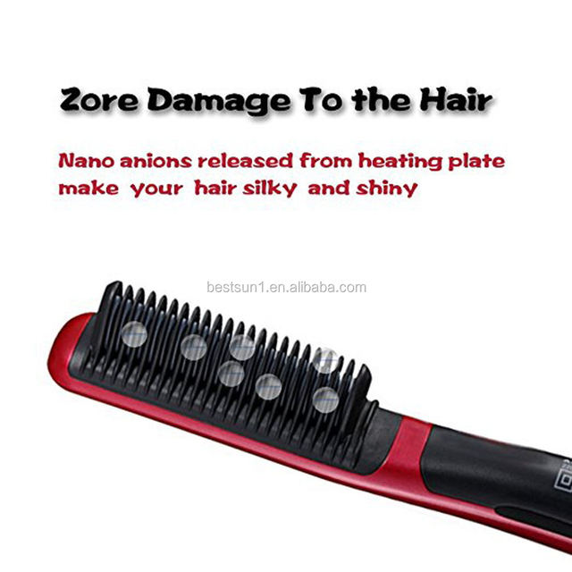 Hair Straightener Iron Brush with Double Negative ions Anti-scald Faster Heating PTC Ceramic Technology