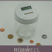 Transparent round jar shape automatic coin counting electronic money counter