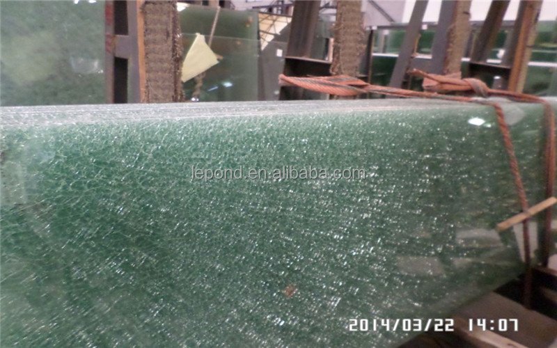 Decorative laminated tempered ice cracked glass