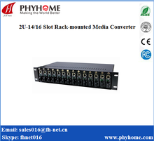 fiber Unmanaged media converter 2U rackmount chassis 14/16 Slots ftth catv optical receiver cctv wireless camera For Sale