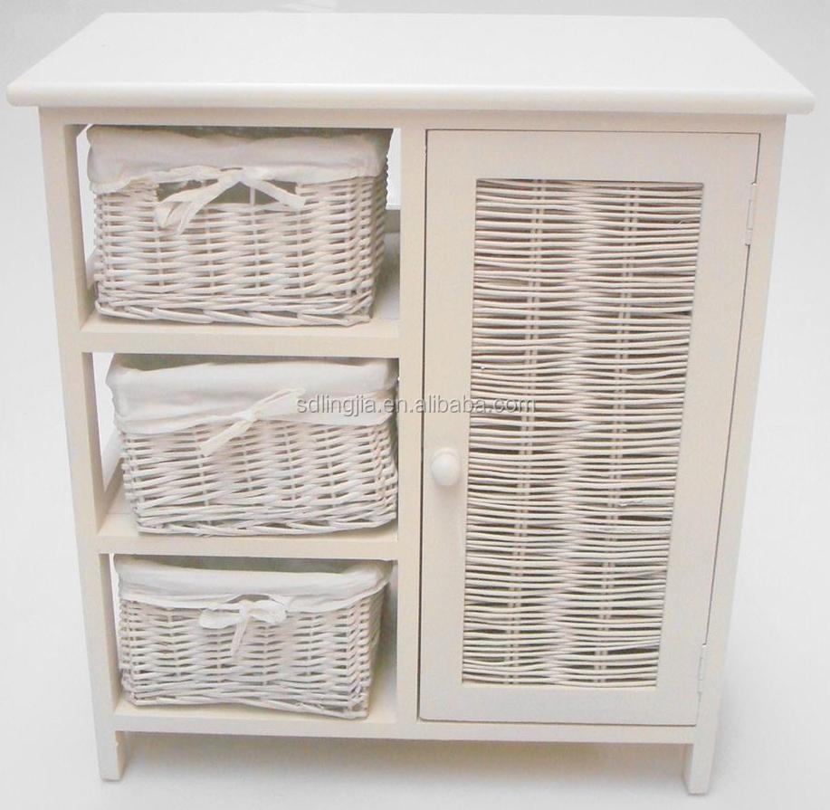 rustique blanc peint moderne salle de bains meuble lavabo avec panier en rotin pour la. Black Bedroom Furniture Sets. Home Design Ideas