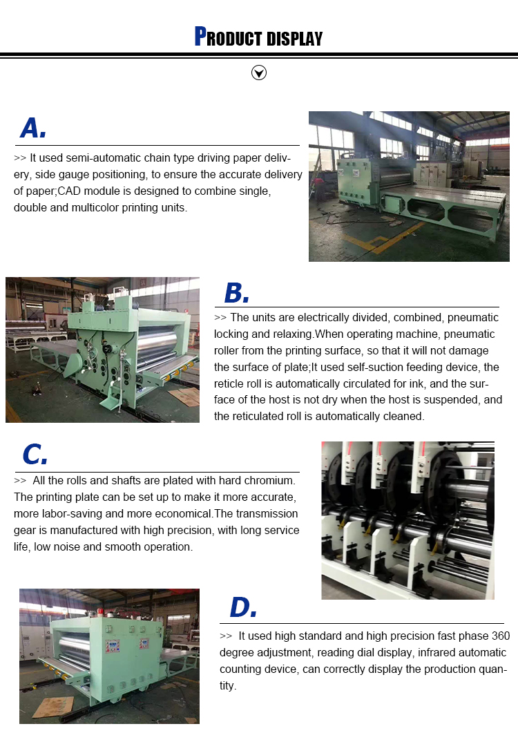 Corrugated Carton Flexo Printing Machine With Slotting Die Cutting flexo printing machine