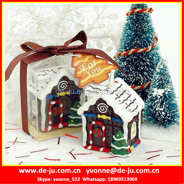 Small Christmas House Shaped Paraffin Candles For Wholesale