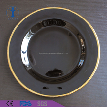 China Factory Wedding Decoration Clear black Gold And Sliver Rim Glass Charger Plate