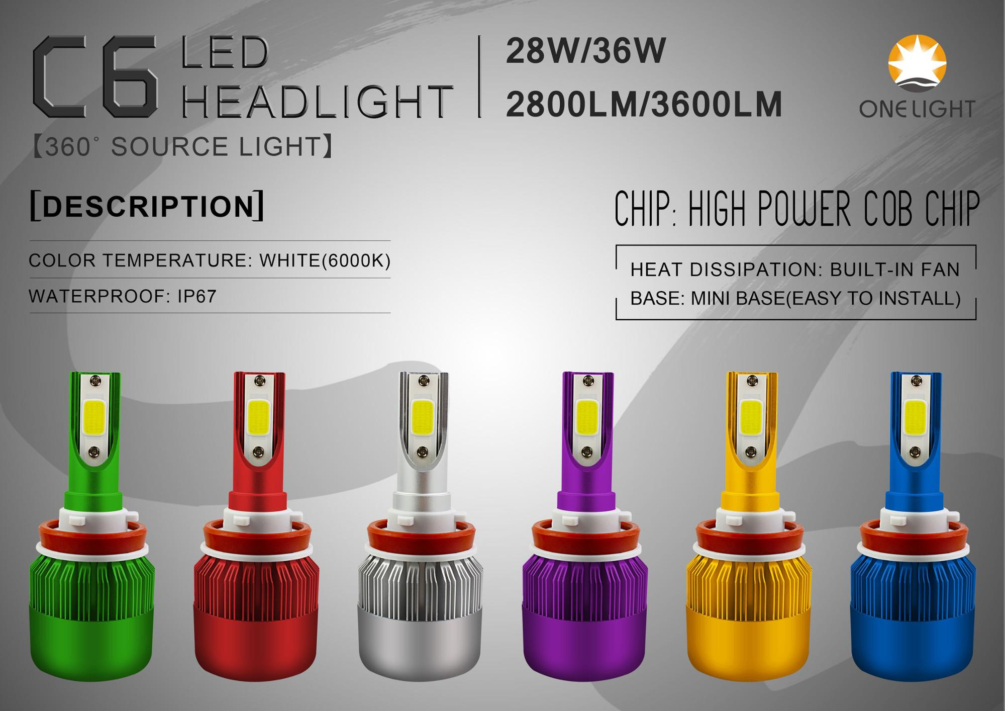 Best sell car led bulb c6 h4 h7 h11 9005 9006 auto led headlight
