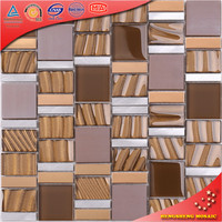 HD13 Latest designs multiple size glass mix metal decorative shower wall tile