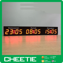 LED Multiple Time Zones Switch Digital World Timer Wall Clock